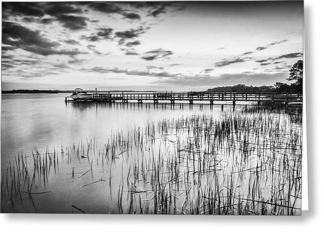 Sailboat Ocean Greeting Cards - Dock on the River - bw Greeting Card by Joye Ardyn Durham