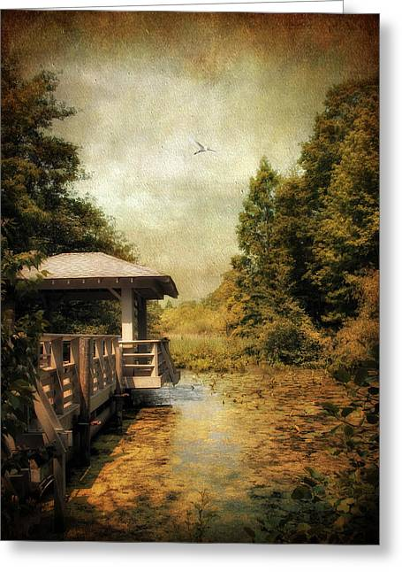 Marshes Digital Greeting Cards - Dock on the Wetlands Greeting Card by Jessica Jenney