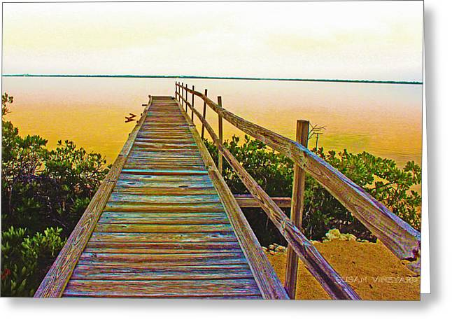 Dock Pyrography Greeting Cards - Dock to Nowhere Greeting Card by Susan Vineyard