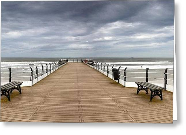 Park Benches Greeting Cards - Dock With Benches, Saltburn, England Greeting Card by John Short