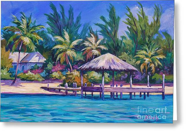 Dock With Thatched Cabana Greeting Card by John Clark