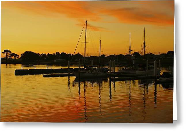 Sunset Seascape Greeting Cards - Docked At Sun Set Greeting Card by Kathryn Potempski