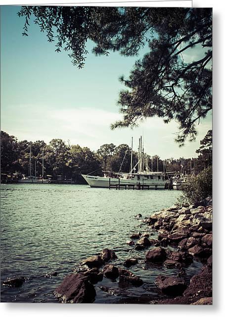 Docked Boat Greeting Cards - Docked At Watson Bayou 2 Greeting Card by Debra Forand