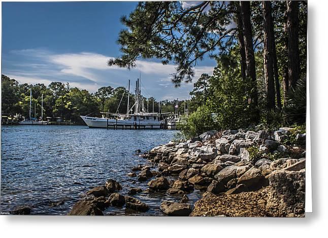 Docked Boat Greeting Cards - Docked At Watson Bayou  Greeting Card by Debra Forand