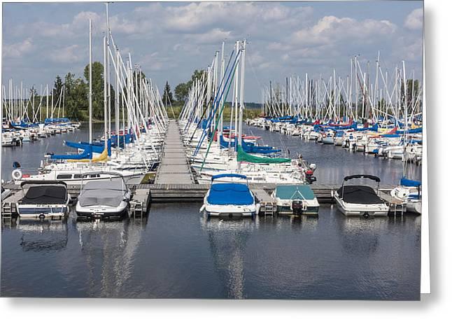 Sea Platform Greeting Cards - Docked boats Greeting Card by Josef Pittner