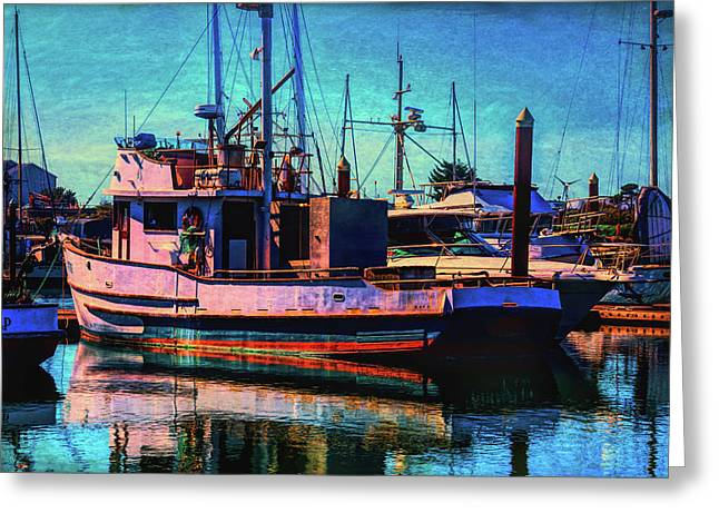 Docked Fishing Boat Greeting Card by Garry Gay