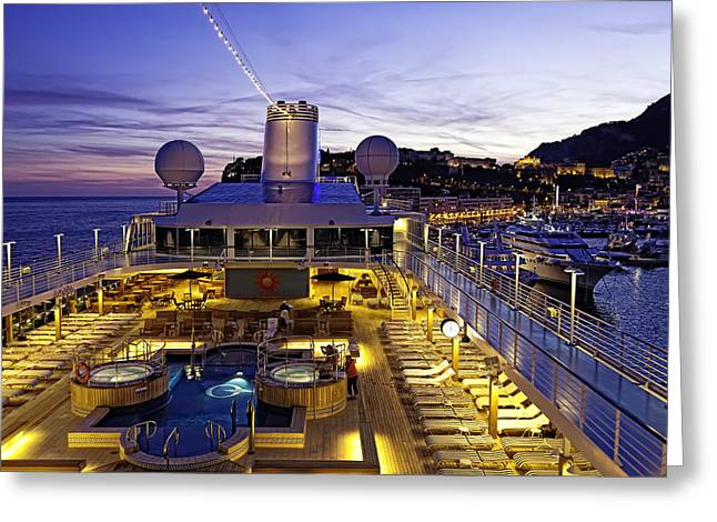 Boat Cruise Photographs Greeting Cards - Docked in Monte Carlo Greeting Card by Janet Fikar