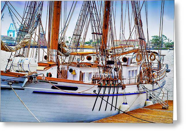 Sailing Ship Greeting Cards - Docked Greeting Card by Joseph Hollingsworth