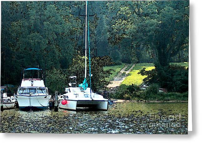 Elinor Mavor Greeting Cards - Docked on Chesapeake Bay Greeting Card by Elinor Mavor