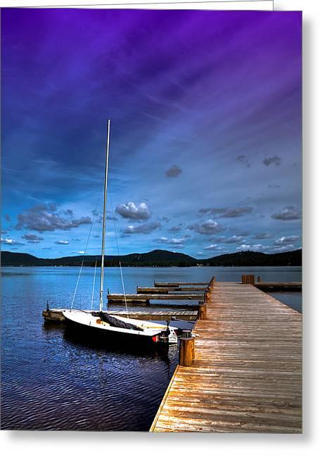Docked On Fourth Lake Greeting Card by David Patterson