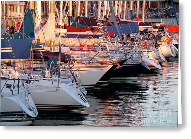 Navigation Greeting Cards - Docked Yatchs Greeting Card by Carlos Caetano