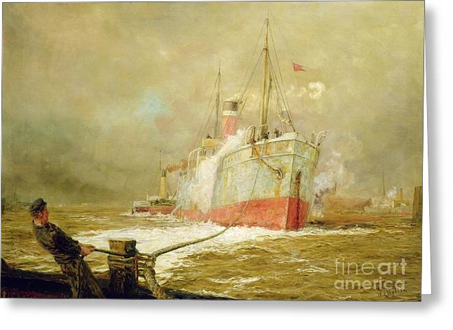 Boats. Water Greeting Cards - Docking a Cargo Ship Greeting Card by William Lionel Wyllie