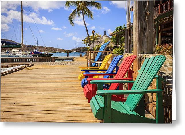 Docked Sailboat Greeting Cards - Dockside lounge Greeting Card by Alexey Stiop