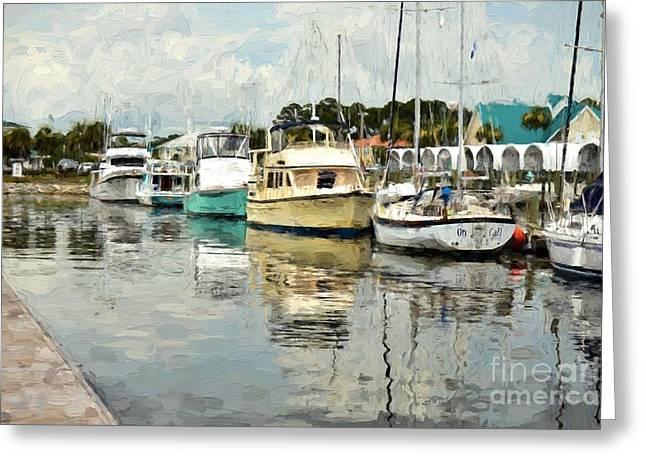 Docked At Port St. Joe Marina - Cape San Blas Fl Greeting Card by D S Images