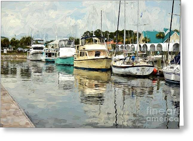 Yellow Sailboats Greeting Cards - Dockside Reflections Greeting Card by Donna Stelly