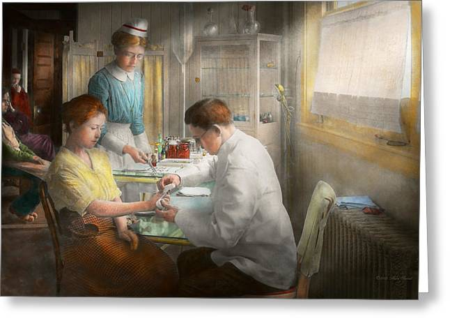 Daughter Gift Greeting Cards - Doctor - Applying first aid - 1917 Greeting Card by Mike Savad