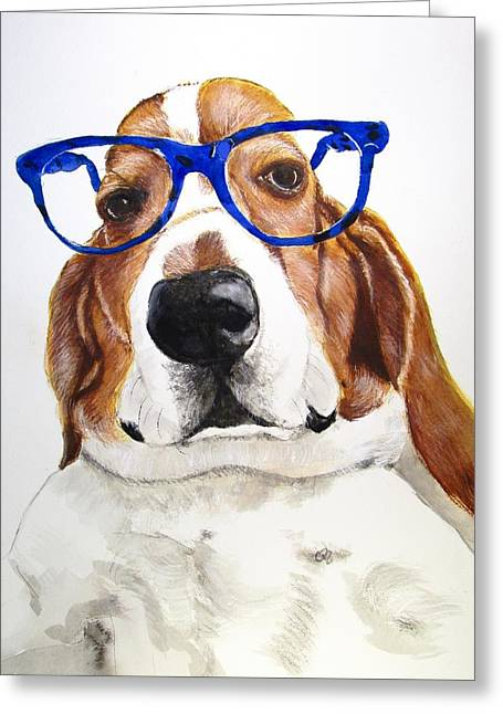 Puppies Paintings Greeting Cards - Doctor Basset Greeting Card by Carol Blackhurst