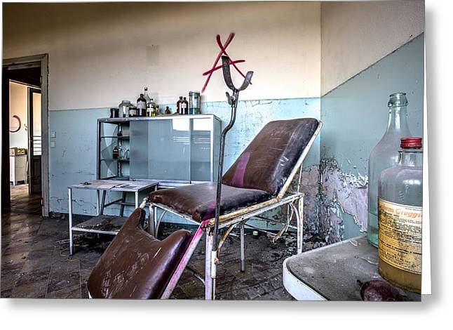 Abandoned Places Greeting Cards - Doctor chair awaits patient - urbex Greeting Card by Dirk Ercken