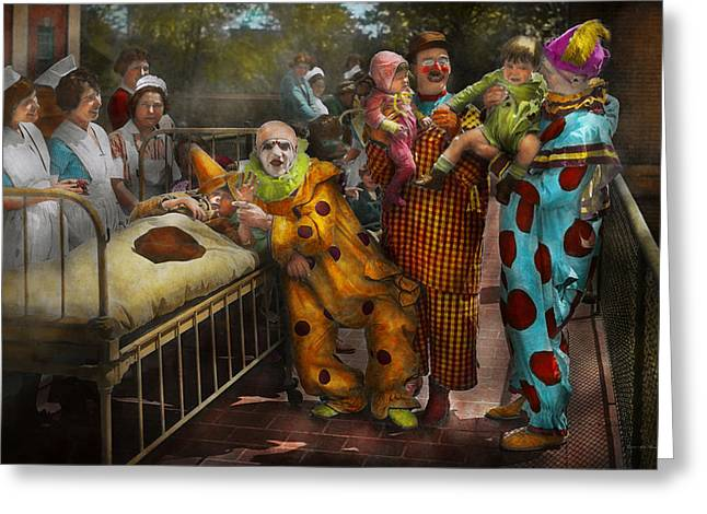 Freak Show Greeting Cards - Doctor - Fear of clowns 1923 Greeting Card by Mike Savad