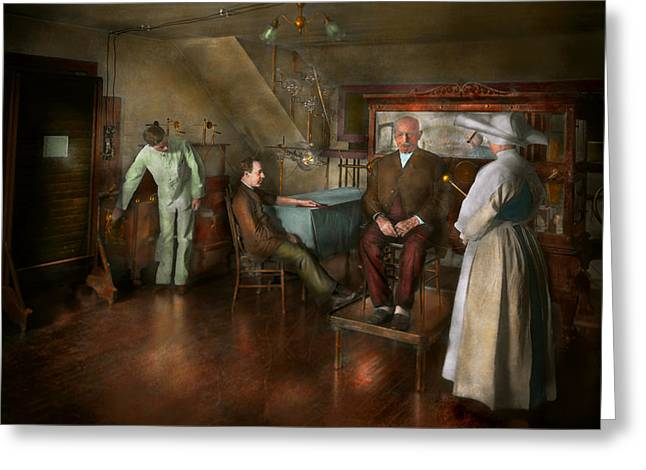 Experiment Greeting Cards - Doctor - Old fashioned influence - 1905-45 Greeting Card by Mike Savad