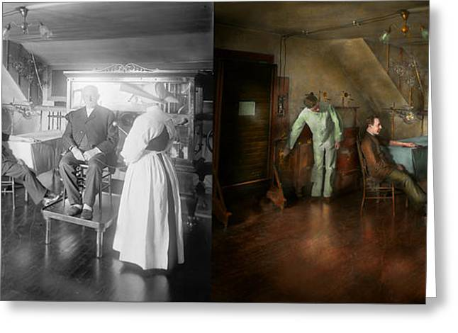 Medical Greeting Cards - Doctor - Old fashioned influence - 1905-45 - Side by Side Greeting Card by Mike Savad