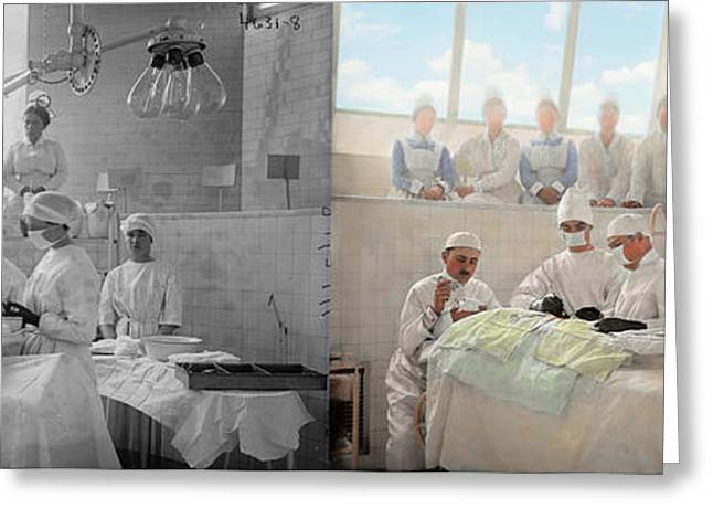 Doctor - Operation Theatre 1905 - Side By Side Greeting Card by Mike Savad