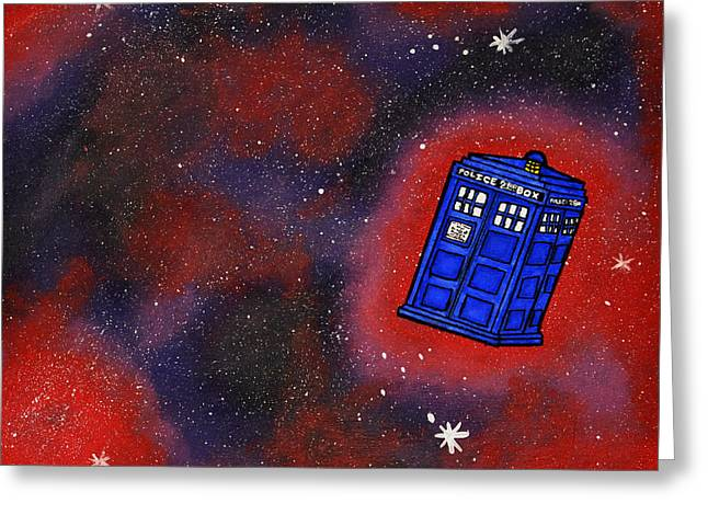 Fandom Greeting Cards - Police Box in Space Greeting Card by Briana Campbell