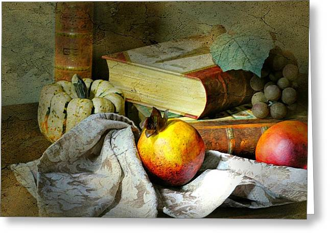 Still-life With Grapes Greeting Cards - Doctrine Chronicles  Greeting Card by Diana Angstadt