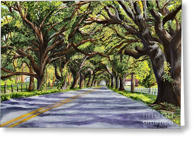 Oak Tree Paintings Greeting Cards - Docville Oaks Greeting Card by Elaine Hodges