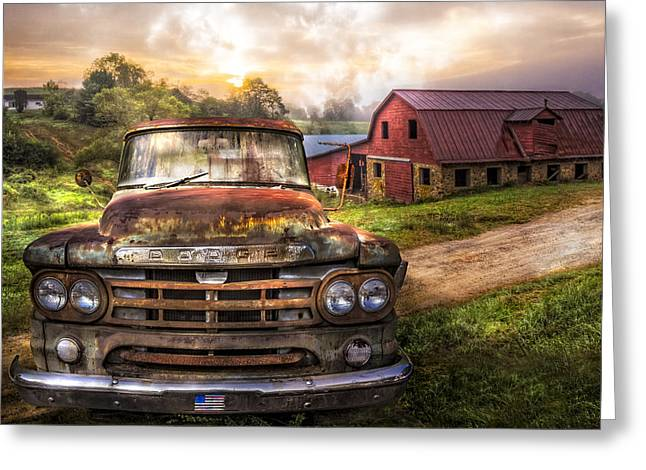 Old Barns Greeting Cards - Dodge at the Farm Greeting Card by Debra and Dave Vanderlaan