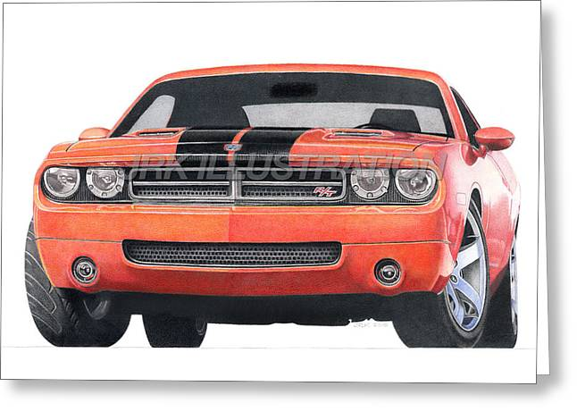 Challenger Mixed Media Greeting Cards - Dodge Challenger Concept Greeting Card by James Robert