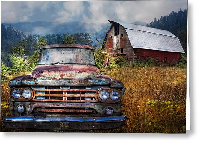 Red Roofed Barn Greeting Cards - Dodge Truck on the Farm Greeting Card by Debra and Dave Vanderlaan