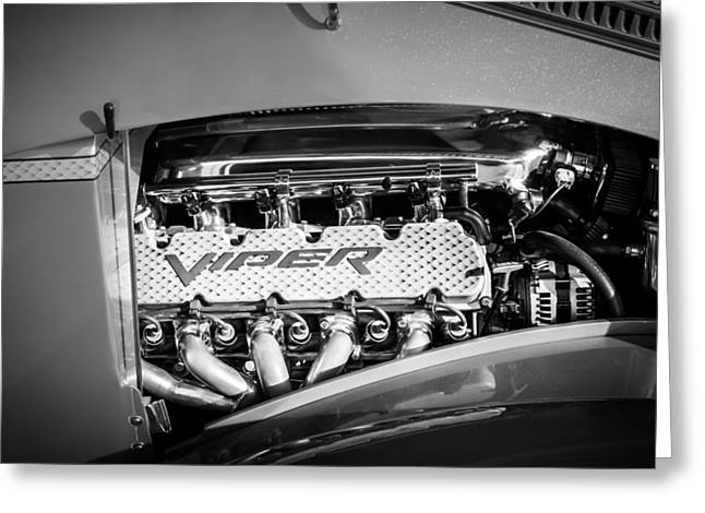 Famous Photographer Greeting Cards - Dodge Viper Engine Emblem -0096bw Greeting Card by Jill Reger