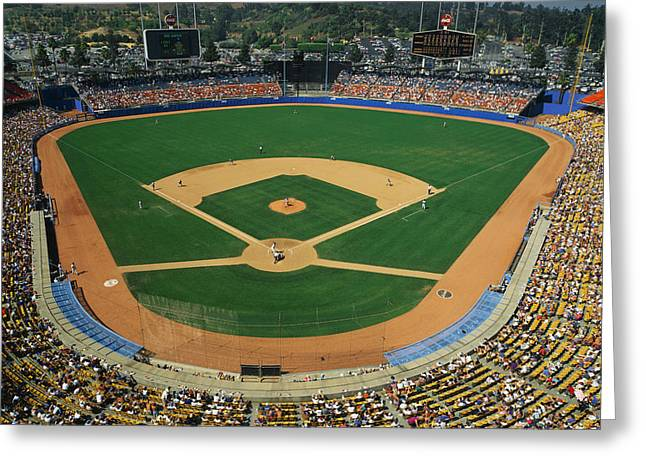 Pastimes Greeting Cards - Dodger Stadium Greeting Card by Panoramic Images