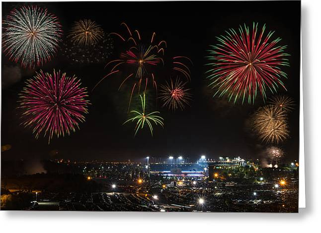 4th July Greeting Cards - Dodgers Stadium 4th of July Greeting Card by Braden Moran