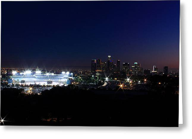 Areal Greeting Cards - Dodgers Stadium Greeting Card by Christina Czybik