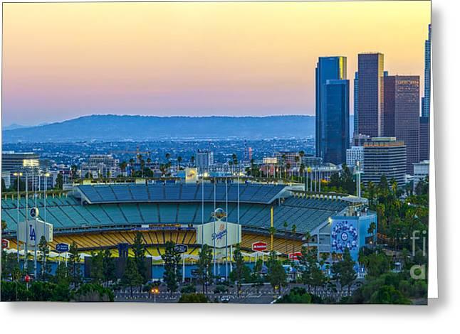 Baseball Stadiums Greeting Cards - Dodger Stadium Greeting Card by Art K