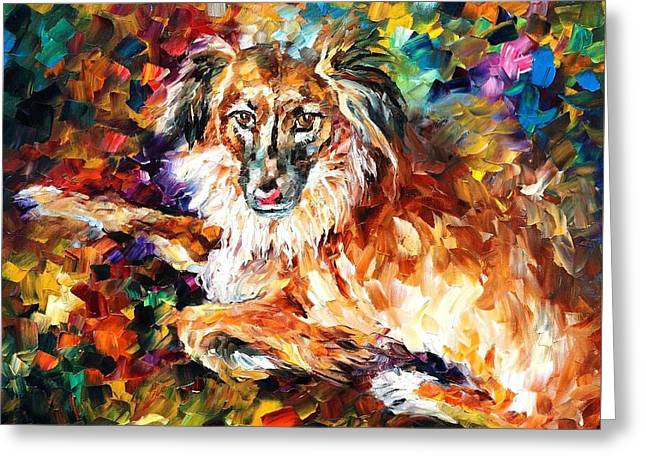 Christmas Art Greeting Cards - Dog 2 - PALETTE KNIFE Oil Painting On Canvas By Leonid Afremov Greeting Card by Leonid Afremov
