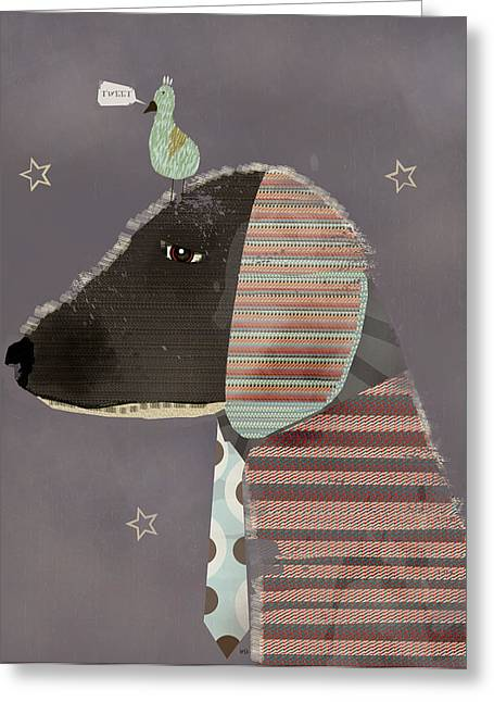 Dachshund Digital Greeting Cards - Dog And Bird Greeting Card by Bri Buckley