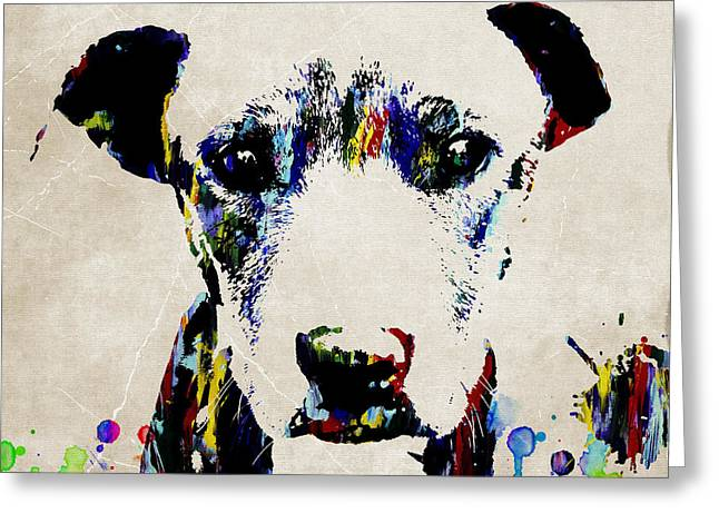 Dog Art Abstract Modern Painting Greeting Card by Robert R Splashy Art Abstract Paintings