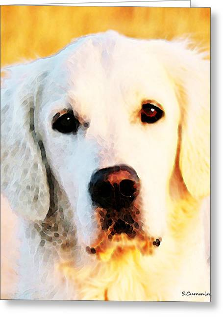 Dog Art - Golden Moments Greeting Card by Sharon Cummings