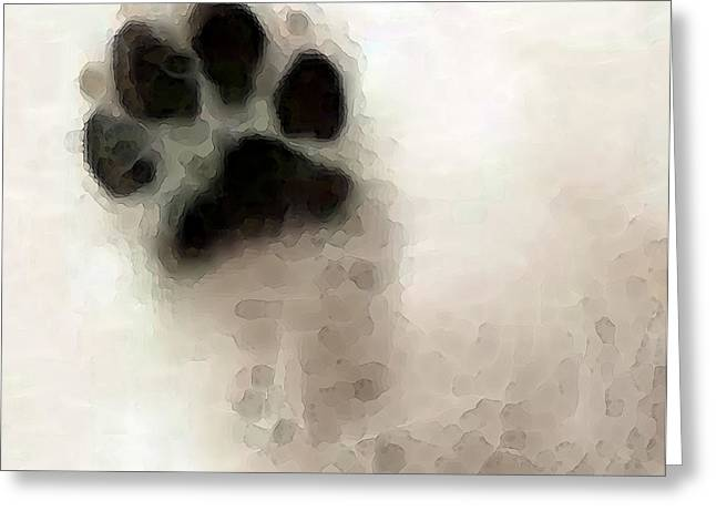 Contemporary Lovers Greeting Cards - Dog Art - I Paw You Greeting Card by Sharon Cummings