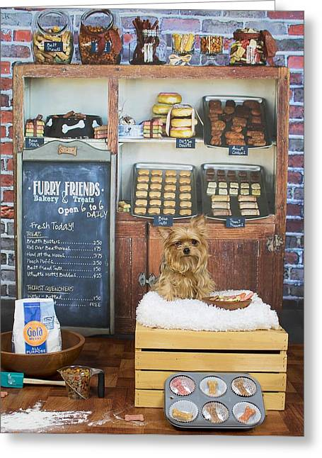 Puppies Greeting Cards - Dog Bakery Greeting Card by Alanna Allen