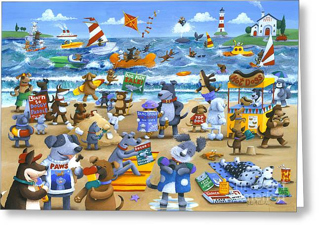 Swimming Dog Greeting Cards - Dog Beach Greeting Card by Peter Adderley