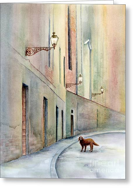Dog Days Of Vicenza Greeting Card by Amy Kirkpatrick