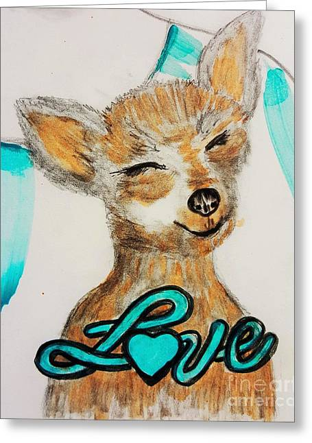 Puppies Paintings Greeting Cards - Dog Love Greeting Card by Jasna Gopic