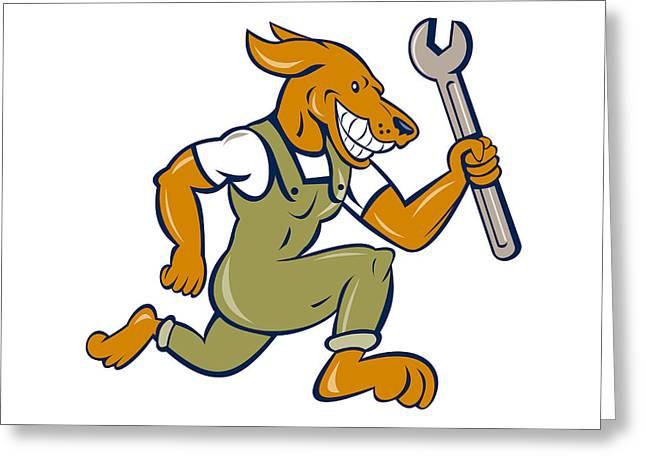 Industrial Background Greeting Cards - Dog Mechanic Running With Spanner Isolated Cartoon Greeting Card by Aloysius Patrimonio