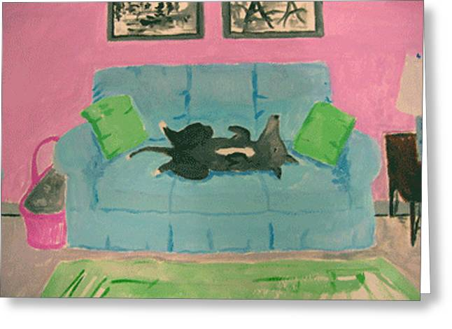 Dog On Couch Greeting Cards - Dog on Couch Greeting Card by Sarah Lane