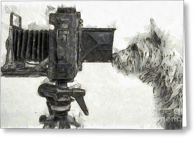 Tiki Art Greeting Cards - Dog Photographer Pencil Greeting Card by Edward Fielding