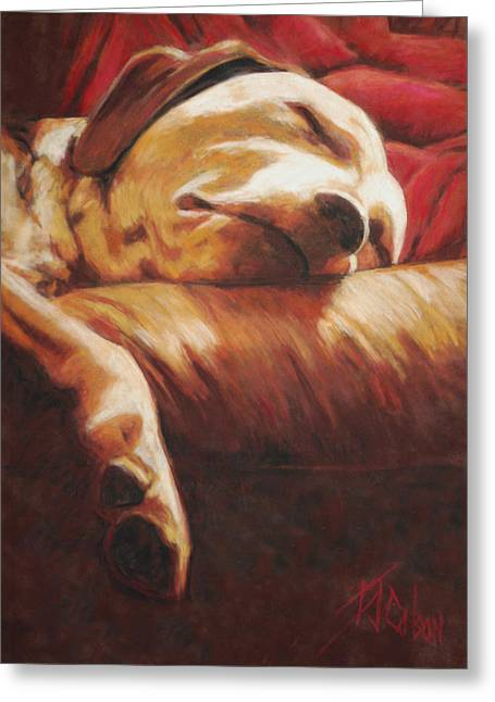Labradors Pastels Greeting Cards - Dog Tired Greeting Card by Billie Colson